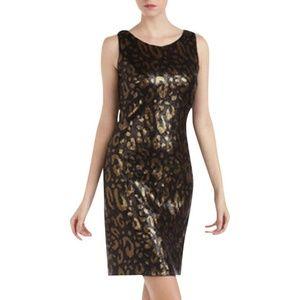 NEW Tahari Leopard Print Sequin Sheath Dress